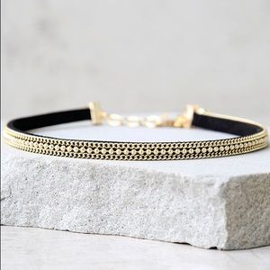 Vanessa Mooney Black and Gold Choker Necklace
